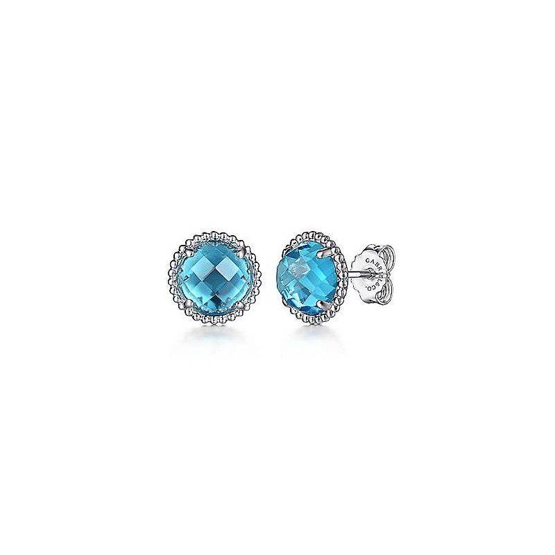 Gabriel & Co. Sterling Silver Blue Topaz Stud Earrings with Bujukan Bead Frame