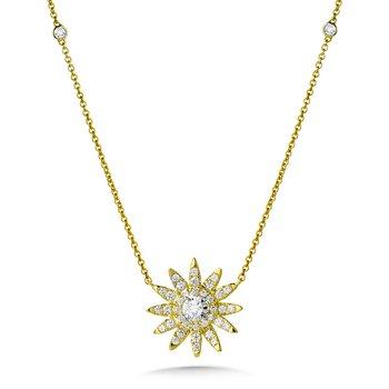 14KY Diamond Sun Pendant and Chain w/ 0.50 ctw
