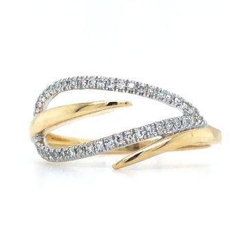 14K Two-Toned Diamond Free Form Fashion Ring w/ 0.10 ctw, Size 7