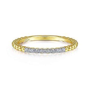 14KY Diamond Stackable Bujukan Bead Ring w/ 0.06 ctw