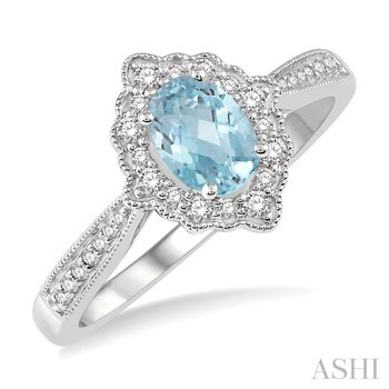 10KW Diamond and Aquamarine Ring w/ 6 x 4 Oval Aqua. and 0.20 CTW Diamond, Size 7