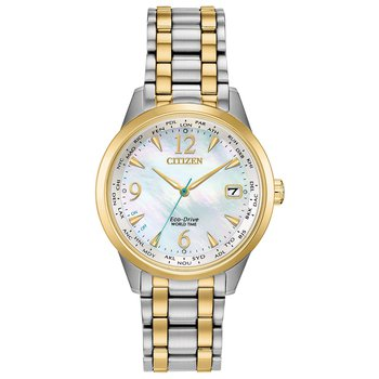 Stainless Steel Two Tone Eco-Drive Watch w/ Mother of Pearl Face
