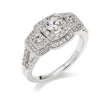 14KW Diamond 3 Stone & Halos Engagement Ring w/ 1.0 ctw, Size 7.25