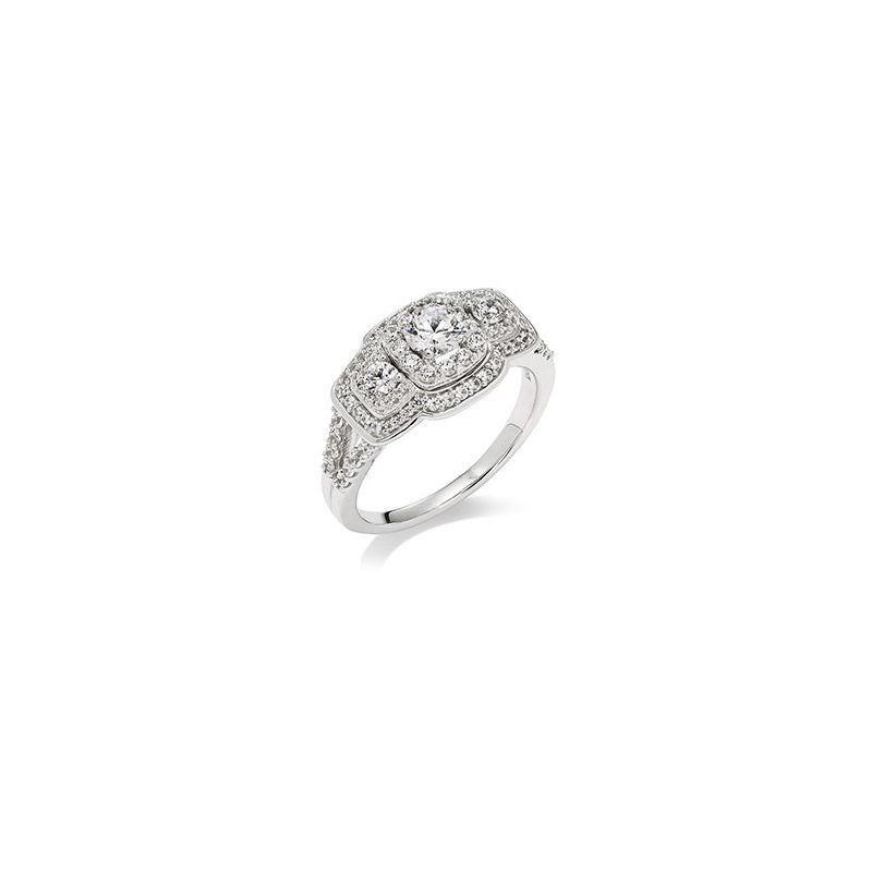 Green Brothers Collection 14KW Diamond 3 Stone & Halos Engagement Ring w/ 1.0 ctw, Size 7.25