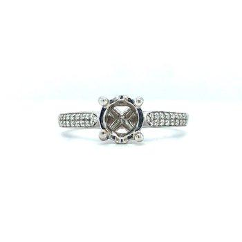 14KW Diamond Engagement Semi-Mount Ring, w/ 0.14 ctw, Size 6.75