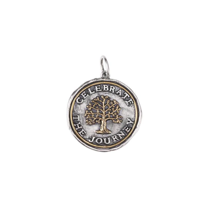 Waxing Poetic Sterling Silver & Brass Celebrate the Journey Pendant