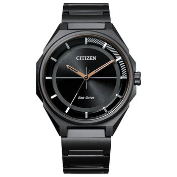 Stainless Steel Black Tone Eco-Drive Watch w/ Black Face