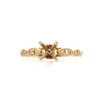 14KY Diamond Engagement Ring Semi Mount w/ 0.18 ctw, Size 6.5