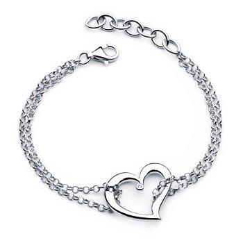 Sterling Silver Diva Diamond Heart Bracelet w/ 0.01 ctw
