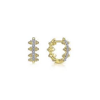 14KY Beaded Pave Diamond 10 MM Diamond Huggies w/ 0.09 ctw