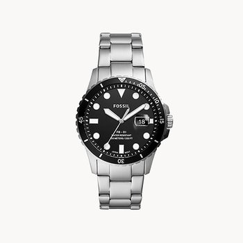 Stainless Steel Watch w/ Black Face