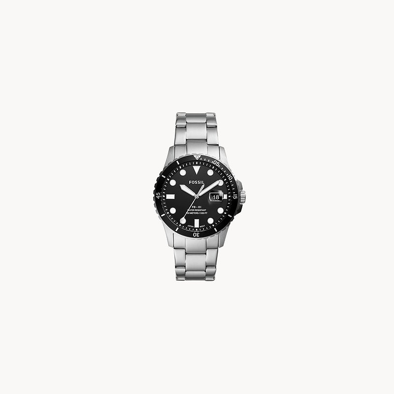 Fossil Stainless Steel Watch w/ Black Face