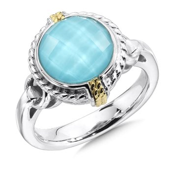 Sterling Silver & 18KY Turquoise Ring Size 7