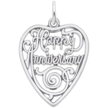 Sterling Silver Anniversary Heart Charm