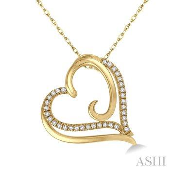 10KY Diamond Heart Pendant w/ 0.10 ctw