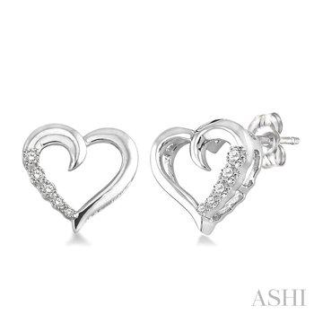 Sterling Silver Diamond Hearts Journey Earrings w/ 0.04 ctw