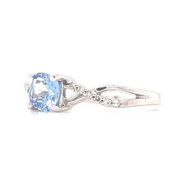 10KW Aqua Spinel and Diamond Ring w/ 0.06 ctw Dia., Size 7
