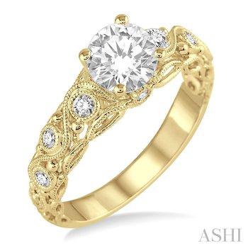 14KY Diamond Semi-mount Engagement Ring w/ 0.15 ctw Size 6.75