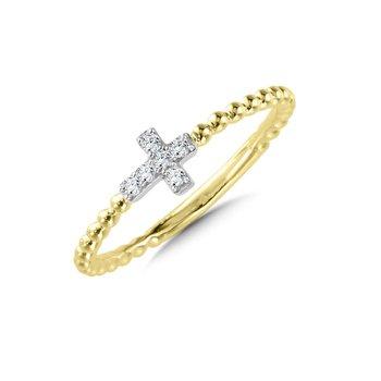 14K Two Tone Diamond and Beaded Cross Ring w/ 0.07 ctw