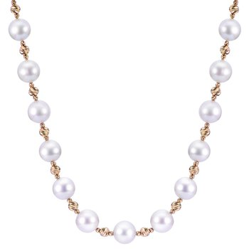 """14KY Pearl Strand Necklace w/ """"AA"""" Quality, 7 -- 7.5 mm Pearls, 18"""" Chain"""