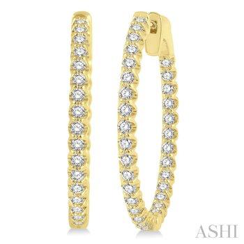 14KY Diamond Hoop Earrings 1.0 ctw