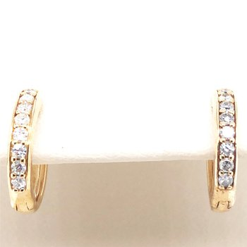 10KY Small Diamond Hoop Earrings w/ 0.15 ctw
