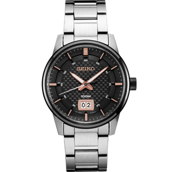 Stainless Steel Analog Quartz Watch w/ Date, Calendar, and Lumibright Hands on Black Face with Rose Tone Accents