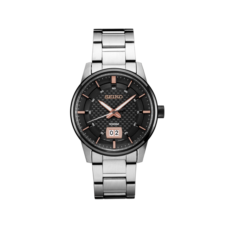 Seiko Watches In Stock Stainless Steel Analog Quartz Watch w/ Date, Calendar, and Lumibright Hands on Black Face with Rose Tone Accents