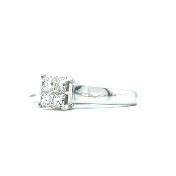 14KW Diamond Princess Cut Engagement Ring w/ 1.0 ctw, Size 7
