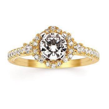 14KY Diamond Halo Semi-Mount Engagement Ring w/ 0.36 ctw, Size 7