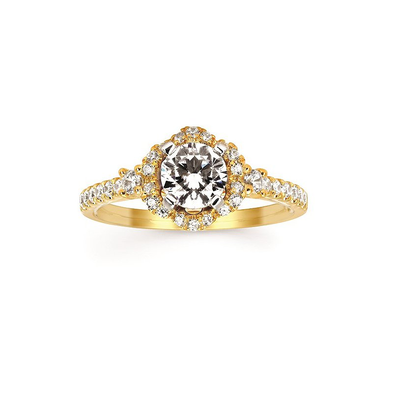 Green Brothers Collection 14KY Diamond Halo Semi-Mount Engagement Ring w/ 0.36 ctw, Size 7