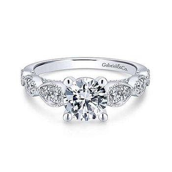 14KW Diamond Semi-Mount Engagement Ring w/ 0.50 CTW Size 6.5