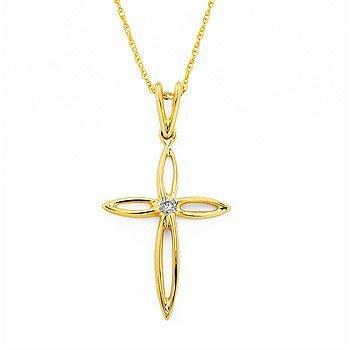 "14KY Diamond Cross Pendant w/ 0.03 ctw, 18"" Light Rope Chain"