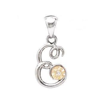 Sterling Silver & 14KY Letter E Diamond Pendant w/ Chain
