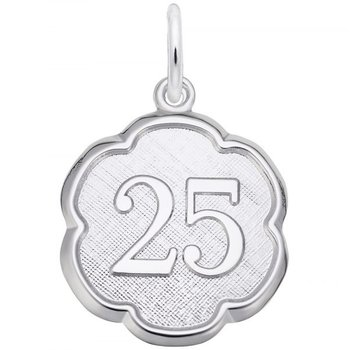 Sterling Silver Number 25 Charm