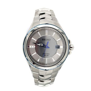 Stainless Steel Solar Watch w/ Blue Accents and Date Marker and Sapphire Crystal