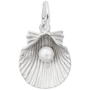 Sterling Silver Shell w/ Pearl Charm