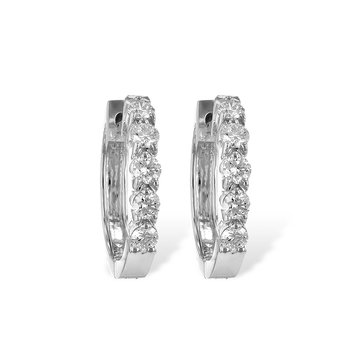 14KW Small Diamond Hoop Earrings w/ 0.50 ctw