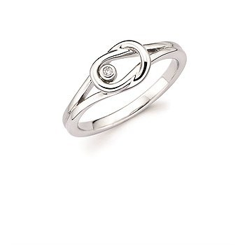 Sterling Silver Diamond Love Knot Ring w/ 0.01 ctw, Size 7