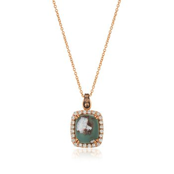 "14KR Aquaprayes and Diamond Pendant w/ 6.0 ct Aqu. & 0.55 ct Dia., 18"" Chain"