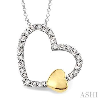 "Sterling Silver Diamond Heart Pendant w/ 0.05 ctw, 18"" Chain"