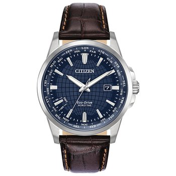 Stainless Steel Eco-Drive Watch w/ Blue Face and Brown Leather Straps