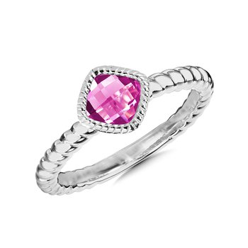 Sterling Silver Created Pink Sapphire Ring Size 7