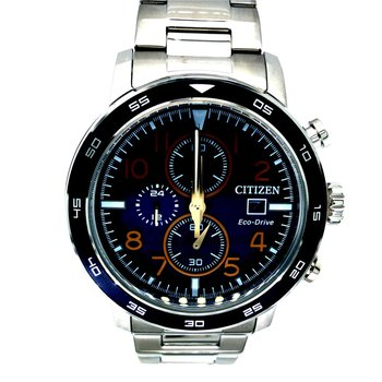 Stainless Steel Eco-Drive Chronograph Watch w/ Blue Face and Date Marker