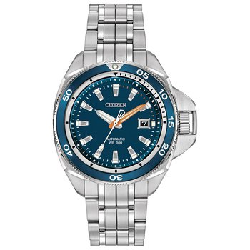 Stainless Steel Signature Grand Touring Sport Automatic Watch w/ Blue Face