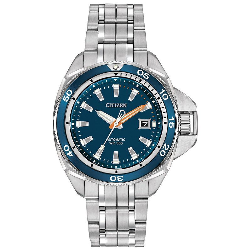Citizen Watches in Stock Stainless Steel Signature Grand Touring Sport Automatic Watch w/ Blue Face