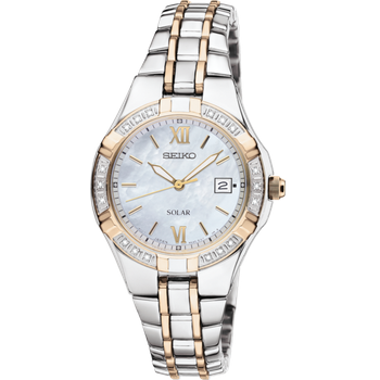 Stainless Steel Two Tone Diamond Watch w/ Mother of Pearl Face