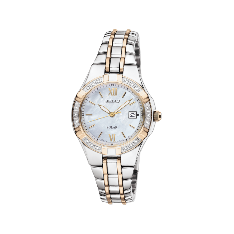 Seiko Watches In Stock Stainless Steel Two Tone Diamond Watch w/ Mother of Pearl Face
