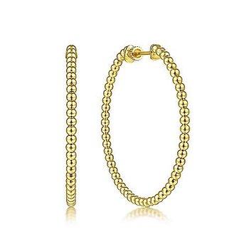 14KY Beaded Round Classic Hoop Earrings
