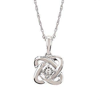 "Sterling Silver Diamond Pendant w/ 0.02 ctw, 18"" Box Chain"